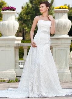 Corte A/Princesa Escote corazón Cola capilla Satén Encaje Vestido de novia con Bordado