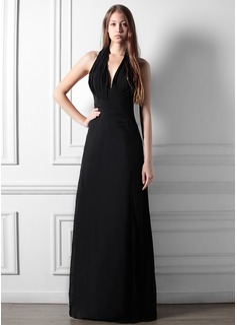 A-Line/Princess Halter Floor-Length Chiffon Bridesmaid Dress With Ruffle Split Front