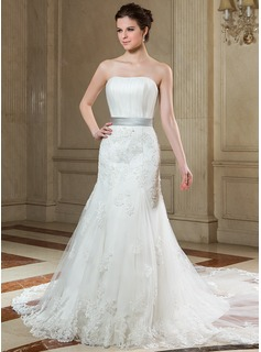 Trumpet/Mermaid Strapless Chapel Train Tulle Wedding Dress With Ruffle Sash Beading Appliques Lace Bow(s)