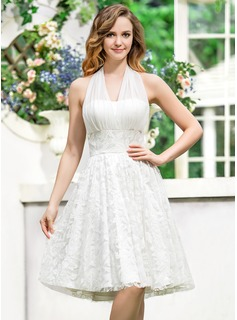 A-Line/Princess Halter Asymmetrical Chiffon Lace Wedding Dress With Bow(s)