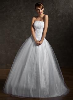 Duchesse-Linie Trägerlos Bodenlang Tüll Quinceañera Kleid (Kleid für die Geburtstagsfeier) mit Rüschen Perlen verziert