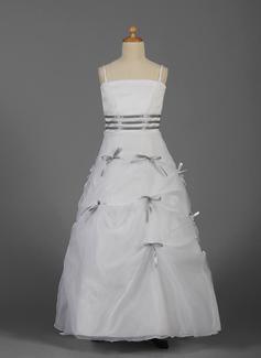 A-Line/Princess Floor-length Flower Girl Dress - Organza/Satin Sleeveless With Sash/Bow(s)