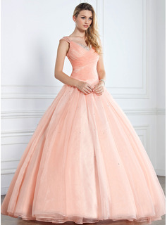 Ball-Gown V-neck Floor-Length Organza Quinceanera Dress With Ruffle Beading Sequins