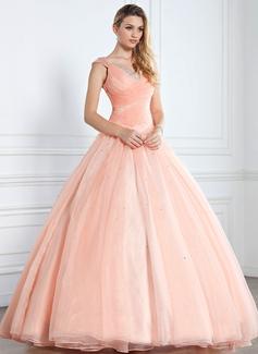 Duchesse-Linie V-Ausschnitt Bodenlang Organza Quinceañera Kleid (Kleid für die Geburtstagsfeier) mit Rüschen Perlen verziert Pailletten