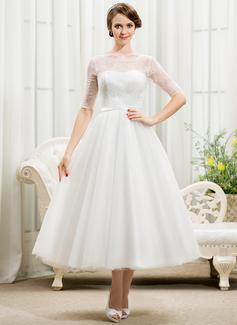 Corte A/Princesa Escote redondo Hasta la tibia Tul Charmeuse Encaje Vestido de novia con Lazo(s)