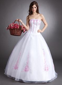 Duchesse-Linie Trägerlos Bodenlang Organza Quinceañera Kleid (Kleid für die Geburtstagsfeier) mit Bestickt Perlen verziert