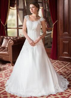 A-linjeformat Hjärtformad Court släp Satäng Organzapåse Bröllopsklänning med Rufsar Pärlbrodering Applikationer Spetsar
