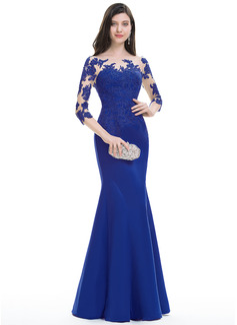 Trumpet/Mermaid Scoop Neck Floor-Length Satin Evening Dress