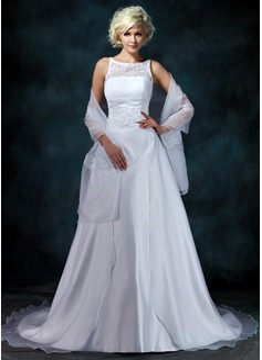 A-linjeformat Rund-urringning Chapel släp Satäng Organzapåse Bröllopsklänning med Spetsar Pärlbrodering