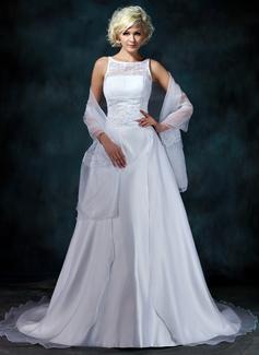 Corte A/Princesa Escote redondo La capilla de tren Organdí Satén Vestido de novia con Encaje Bordado
