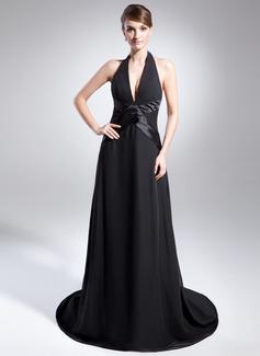 A-Line/Princess Halter Court Train Chiffon Holiday Dress