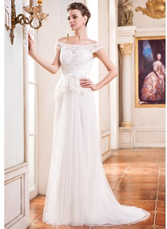 Corte A/Princesa Hombros caídos Cola corte Tul Charmeuse Encaje Vestido de novia con Bordado Flores Lentejuelas