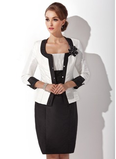 Sheath/Column Square Neckline Knee-Length Taffeta Mother of the Bride Dress With Ruffle