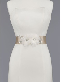 Nice Satin/Organza Sash With Beading/Flower