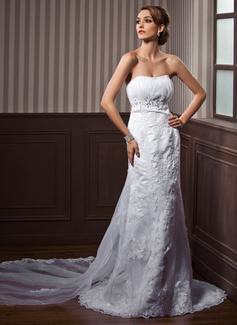 Corte imperial Escote corazón Cola watteau Satén Tul Vestido de novia con Volantes Encaje Bordado