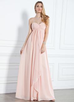 Empire-Linie Herzausschnitt Bodenlang Chiffon Abendkleid mit Rüschen
