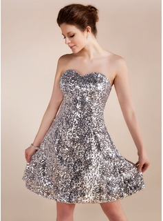 A-Line/Princess Sweetheart Short/Mini Sequined Cocktail Dress