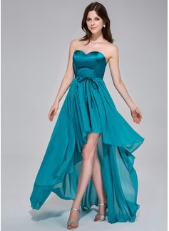 A-Line/Princess Sweetheart Asymmetrical Chiffon Charmeuse Holiday Dress With Ruffle Bow(s)