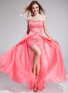 A-formet/Prinsesse Sweetheart Asymmetrisk Avtagbar Organza Blonder Ballkjole med Perlebesydd Paljetter
