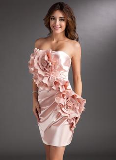 Sheath/Column Strapless Short/Mini Charmeuse Cocktail Dress With Ruffle Beading Flower(s)