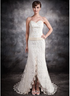 Corte trompeta/sirena Escote corazón Asimétrico Encaje Vestido de novia con Bordado Apertura frontal