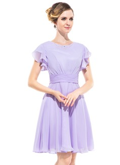 A-Line/Princess Scoop Neck Knee-Length Chiffon Bridesmaid Dress With Beading Cascading Ruffles