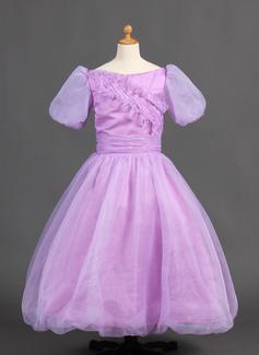 Ball Gown Floor-length Flower Girl Dress - Organza/Satin Short Sleeves Bateau With Ruffles