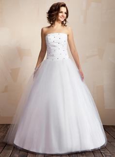 Balklänning Axelbandslös Golvlång Taft Tyll Bröllopsklänning med Rufsar Pärlbrodering