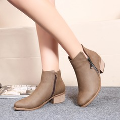 Women's Leatherette Low Heel Flats Closed Toe Boots Ankle Boots With Zipper shoes