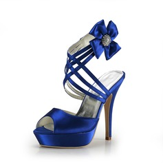 Satin Stiletto Heel Sandals Platform Slingbacks With Rhinestone shoes