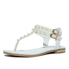 Women's Real Leather Flat Heel Flats Sandals Beach Wedding Shoes With Buckle Imitation Pearl