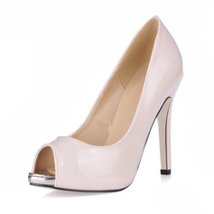 Women's Patent Leather Stiletto Heel Peep Toe Platform Sandals