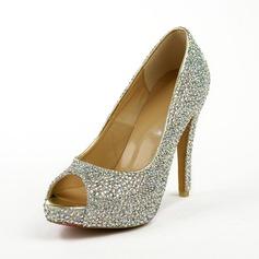Leatherette Stiletto Heel Sandals Platform Peep Toe With Rhinestone shoes