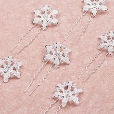 Blomst Formet Rhinestone/Legering Hårnåler
