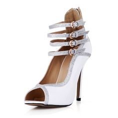 Patent Leather Sparkling Glitter Stiletto Heel Pumps Peep Toe With Buckle shoes