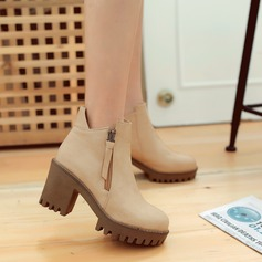 Women's Leatherette Chunky Heel Boots Ankle Boots With Zipper Others shoes