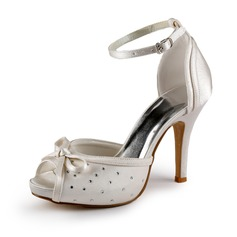 Women's Satin Cone Heel Peep Toe Platform Sandals With Bowknot Buckle Crystal