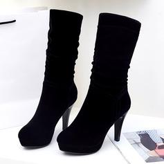 Women's Suede Stiletto Heel Pumps Mid-Calf Boots shoes