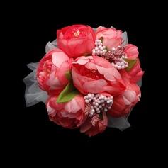 Fascinating Round Satin/Paper Bridesmaid Bouquets