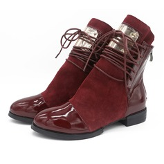 Women's Real Leather Flat Heel Flats Boots With Zipper Lace-up Split Joint shoes