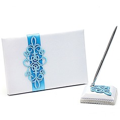 Teal Scroll Sash Guestbook & Pen Set