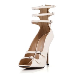 Patent Leather Stiletto Heel Sandals Pumps Peep Toe With Buckle Zipper shoes