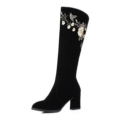 Women's Suede Chunky Heel Mid-Calf Boots With Zipper Flower shoes