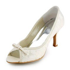 Women's Lace Stiletto Heel Peep Toe Sandals With Bowknot