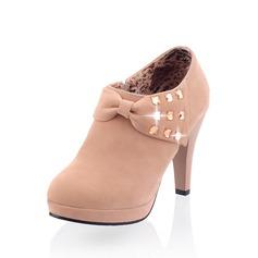 Mocka Cone Heel Boots med Strass skor