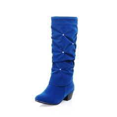 Women's Leatherette Low Heel Closed Toe Mid-Calf Boots With Rhinestone shoes