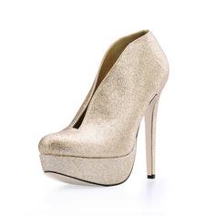 Women's Sparkling Glitter Stiletto Heel Boots Closed Toe Platform Pumps