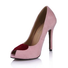 Suede Stiletto Heel Sandals Peep Toe shoes