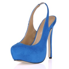 Suede Stiletto Heel Pumps Platform Closed Toe shoes
