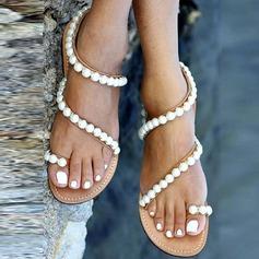 Women's Leatherette Flat Heel Sandals Flats Peep Toe With Imitation Pearl shoes